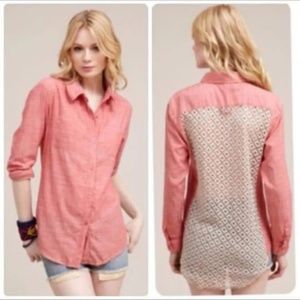 Free People Washed Red Size Small Chambray buttond